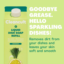 Load image into Gallery viewer, Cleancult Dish Soap Refill, Natural Ingredients, Lemongrass Scent, 32 oz, 3 Pack, Cruelty Free, Degreaser, Eco Friendly Dishwashing Liquid
