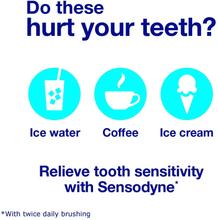 Load image into Gallery viewer, Sensodyne Rapid Relief Sensitive Fluoride Toothpaste, Basic, Extra Fresh, 3.4 Ounce (Pack of 3), 10.2 Ounce