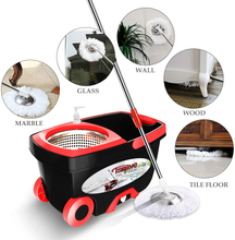 "Load image into Gallery viewer, Tsmine Spin Mop & Bucket Floor Cleaning System, Household Cleaning Supplies Stainless Steel Mop Bucket with Wringer on Wheels - 6 Mop Heads 61"" Handle, Mop with Bucket for Home Commercial Cleaning"