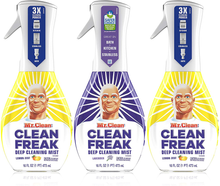 Load image into Gallery viewer, Mr. Clean, Clean Freak Deep Cleaning Mist Multi-Surface Spray, Lavender and Lemon Zest Scent Starter Kit Bundle Pack, 3 Count, 16 fl oz