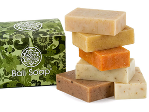 Bali Soap - Natural Soap Bar Gift Set, 6 pc Variety Pack, for Men & Women, Face and Body (Coconut, Papaya, Vanilla, Lemongrass, Jasmine, Ylang-Ylang) 3.5 Oz each