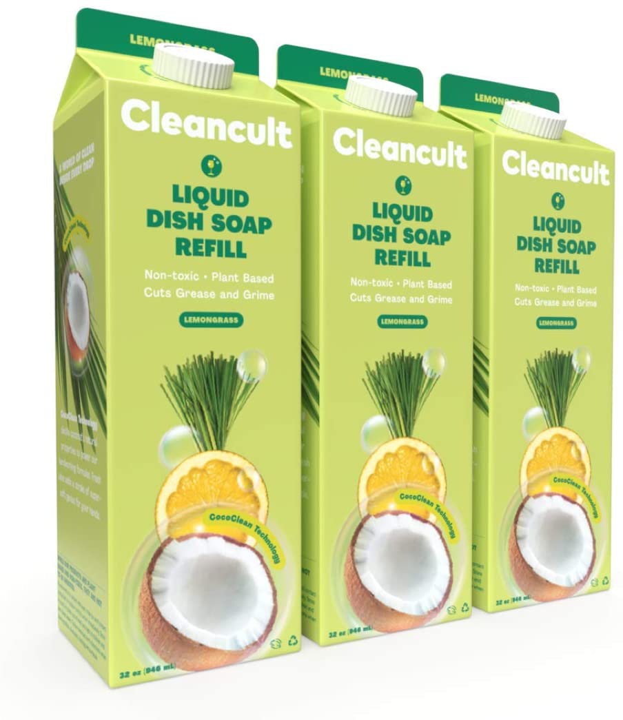 Cleancult Dish Soap Refill, Natural Ingredients, Lemongrass Scent, 32 oz, 3 Pack, Cruelty Free, Degreaser, Eco Friendly Dishwashing Liquid