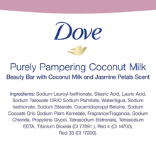 Load image into Gallery viewer, Dove Beauty Bar For Softer Skin Coconut Milk More Moisturizing Than Bar Soap 3.75 oz 6 Bars