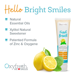 Oxyfresh Maximum Fresh Breath Lemon Mint Toothpaste |SLS & Fluoride Free w/ Natural Essential Oils & Xylitol – Aids Dry Mouth (1- 5 oz Tube)