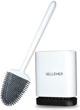 Load image into Gallery viewer, Sellemer Toilet Brush and Holder Set for Bathroom, Flexible Toilet Bowl Brush Head with Silicone Bristles, Compact Size for Storage and Organization, Solid Rust Free Handle, Ventilation Slots Base