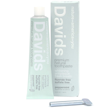 Load image into Gallery viewer, Davids Natural Toothpaste, Whitening, Antiplaque, Fluoride Free, SLS Free, Peppermint, 5.25 OZ Metal Tube, Tube Roller Included