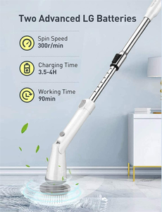 Homitt Electric Spin Cordless Shower Built-in 2 Batteries 360 Power Bathroom Scrubber with 4 Replaceable Cleaning Brush Head and Adjustable Extension Handle for Tub, Tile, Floor, White