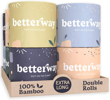 Load image into Gallery viewer, Organic Bamboo Toilet Paper - 2X Longer - 360 Sheets/roll - 3 PLY - 12 Double Rolls - Plastic Free & Extra Strong - Septic Safe Biodegradable Toilet Tissue - Eco-Friendly & Super Soft - FSC Certified