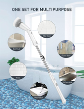 Load image into Gallery viewer, Homitt Electric Spin Cordless Shower Built-in 2 Batteries 360 Power Bathroom Scrubber with 4 Replaceable Cleaning Brush Head and Adjustable Extension Handle for Tub, Tile, Floor, White