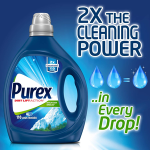 Purex Liquid Laundry Detergent, Mountain Breeze, 2X Concentrated, 2Count, 220 Total Loads