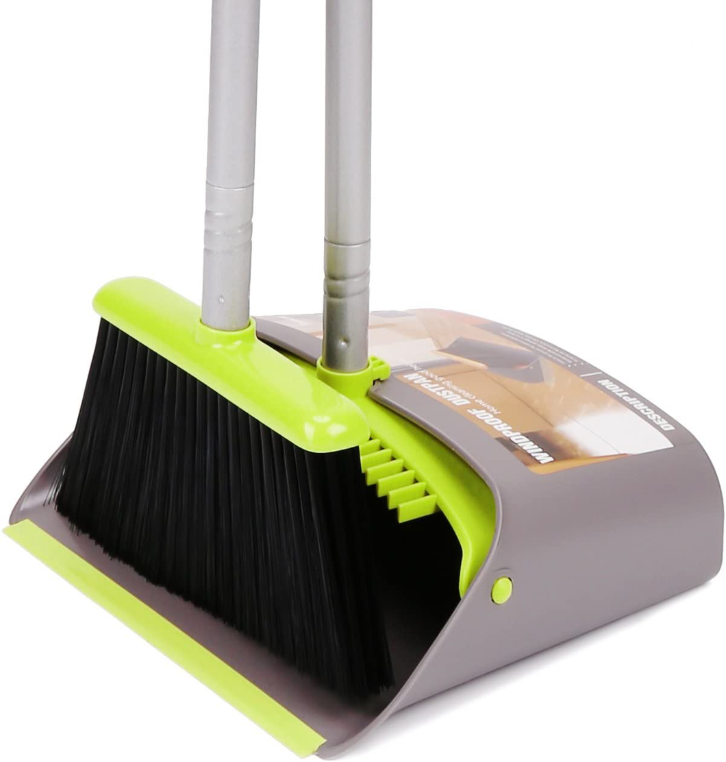 Broom and Dustpan Set, Treelen Broom with Dust Pan with Long Handle Combo Set for Office and Home Standing Upright Sweep Use with Lobby Broom