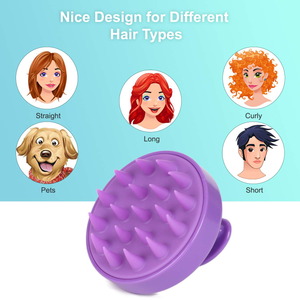 2-Pack Hair Scalp Massager Shampoo Brush, Heeta Wet and Dry Hair Scalp Brush with Soft Silicone (Green & Purple)