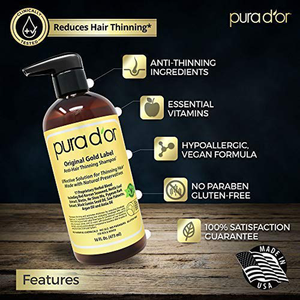PURA D'OR Original Gold Label Anti-Thinning Biotin Shampoo (16oz) w/ Argan Oil, Nettle Extract, Saw Palmetto, Red Seaweed, 17+ DHT Herbal Actives, No Sulfates, Natural Preservatives, For Men & Women