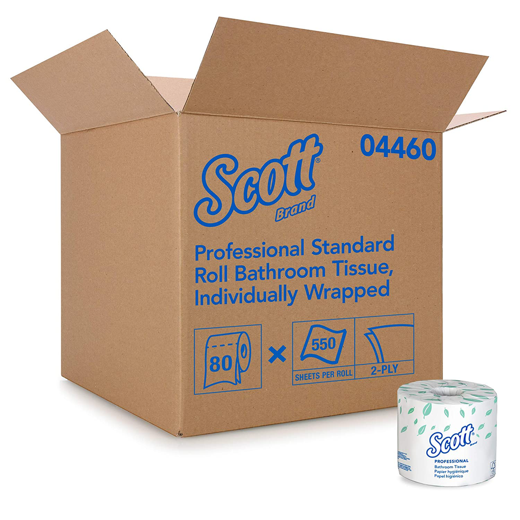 Scott Essential Professional Bulk Toilet Paper for Business (04460), Individually Wrapped Standard Rolls, 2-Ply, White, 80 Rolls/Case, 550 Sheets/Roll