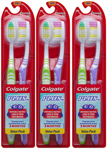 Colgate Plus Soft Toothbrushes with Tongue Cleaner, 6 Count