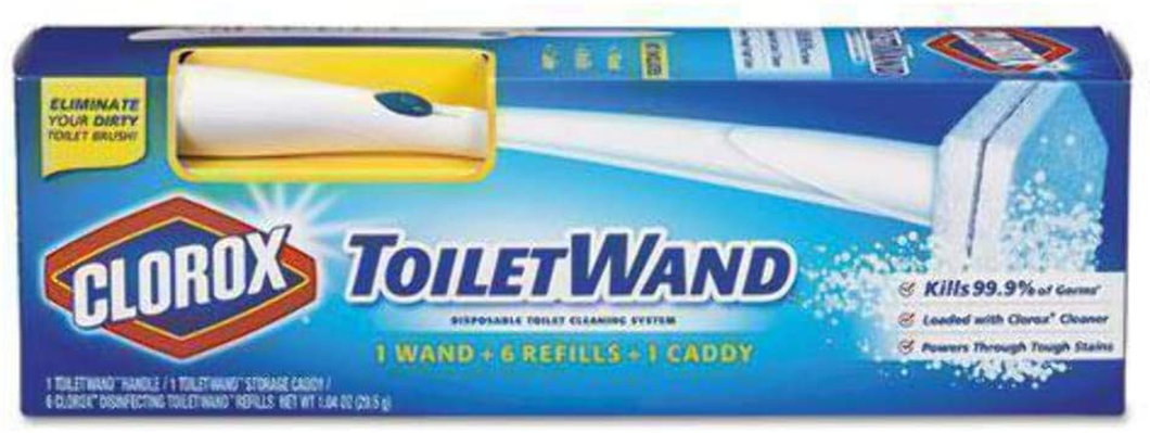 Clorox ToiletWand Disposable Toilet Cleaning System - ToiletWand, Storage Caddy and 6 Disinfecting ToiletWand Refill Heads (Packaging May Vary) (03191)