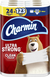 Charmin Ultra Strong Clean Touch Toilet Paper, 24 Family Mega Rolls = 123 Regular Rolls