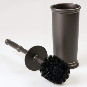 mDesign Compact Freestanding Plastic Toilet Bowl Brush and Holder for Bathroom Storage and Organization - Space Saving, Sturdy, Deep Cleaning, Covered Brush - Espresso Brown