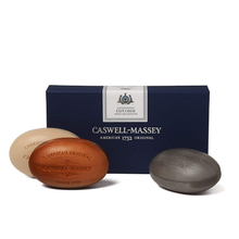 Load image into Gallery viewer, Caswell-Massey Triple Milled Luxury Bath Soap Men's Sandalwood Explorer Soap Set – 3 Assorted Fragrances – 5.8 Ounces Each, 3 Bars