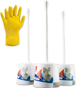 Temples Pride 3 Pack Toilet Bowl Scrubber Brush and Holder with Free Gloves - White Bathroom Bowl Cleaner Toilet Brushes Set with Holders - Eco-Friendly Cleaning