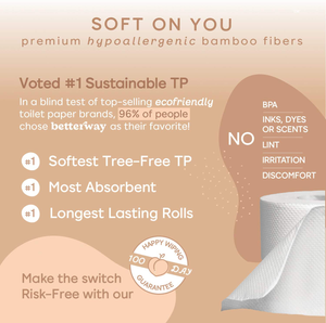 Organic Bamboo Toilet Paper - 2X Longer - 360 Sheets/roll - 3 PLY - 12 Double Rolls - Plastic Free & Extra Strong - Septic Safe Biodegradable Toilet Tissue - Eco-Friendly & Super Soft - FSC Certified