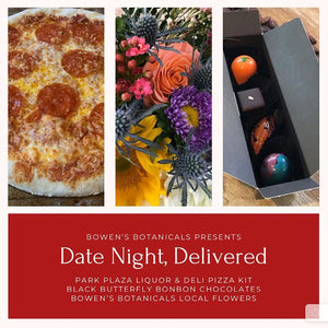 Pizza Date Night-In for Two: Dinner, Flowers, and Dessert!