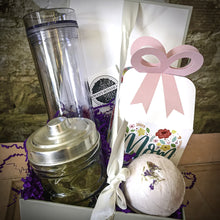 Load image into Gallery viewer, Deluxe Mother's Day Gift Box - Bath Set, Chocolates, Tea; and Choice of Mug, Wine Glass, or Tumbler