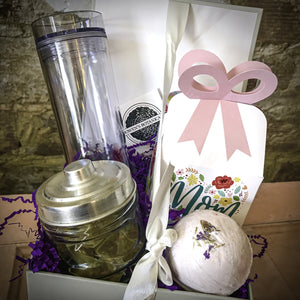 Deluxe Mother's Day Gift Box - Bath Set, Chocolates, Tea; and Choice of Mug, Wine Glass, or Tumbler