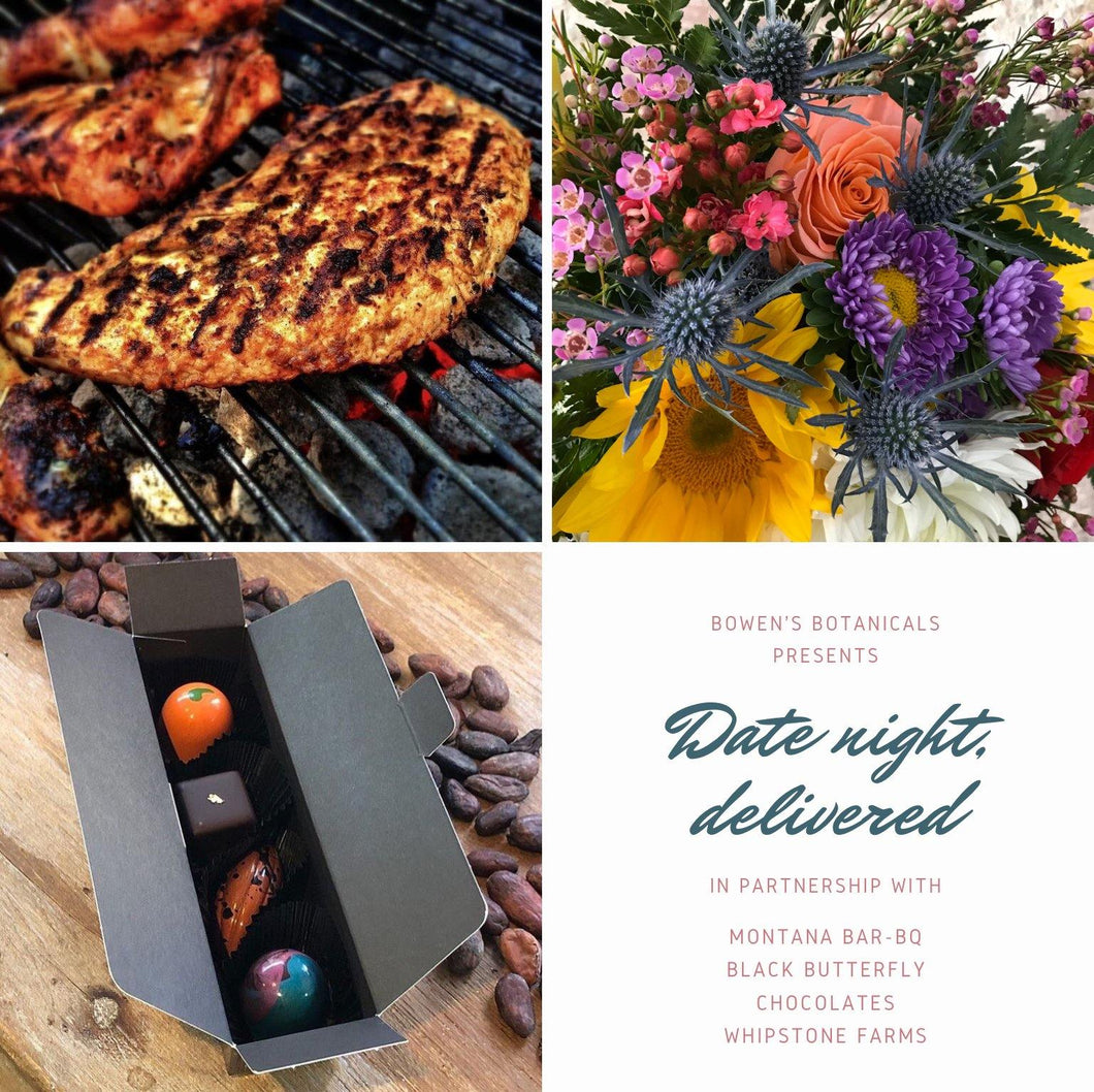 BBQ Chicken Date Night for Two: Dinner, Flowers, and Dessert!