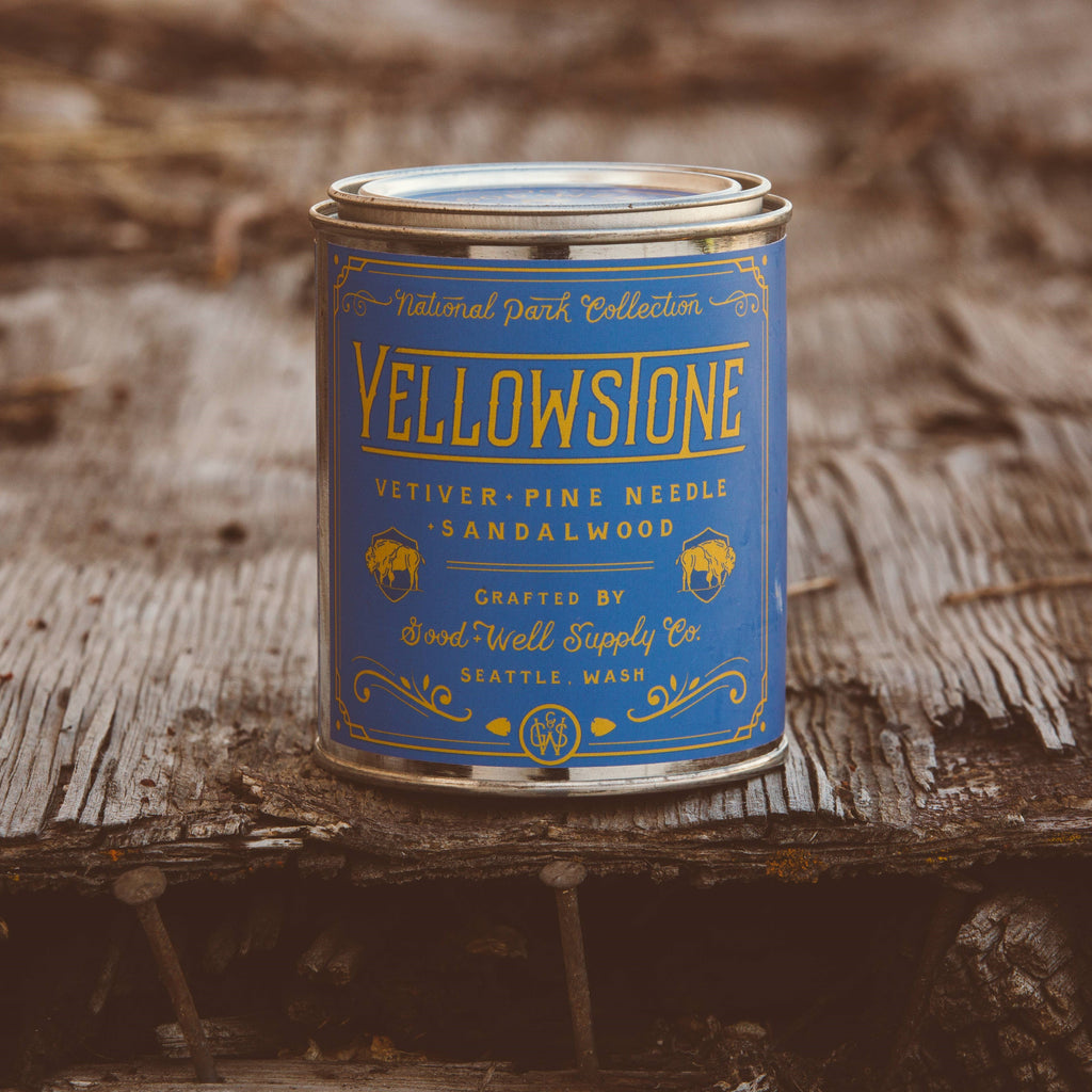 yellowstone national park good and well supply sandalwood soy candle