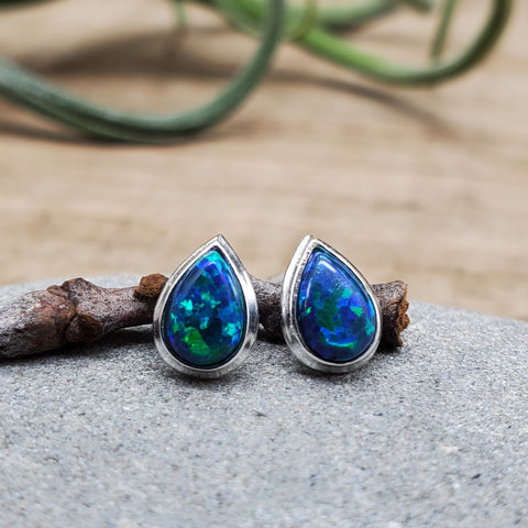 Sterling Silver Dark Green Opal Nickel Free Studs