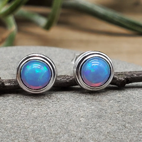 Sterling Silver Light Blue Opal Nickel Free Studs