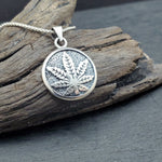 Load image into Gallery viewer, Sterling Silver Marijuana Pot Leaf Pendant on Sterling Chain