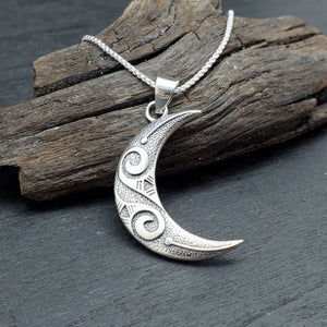 sterling silver tribal crescent moon necklace