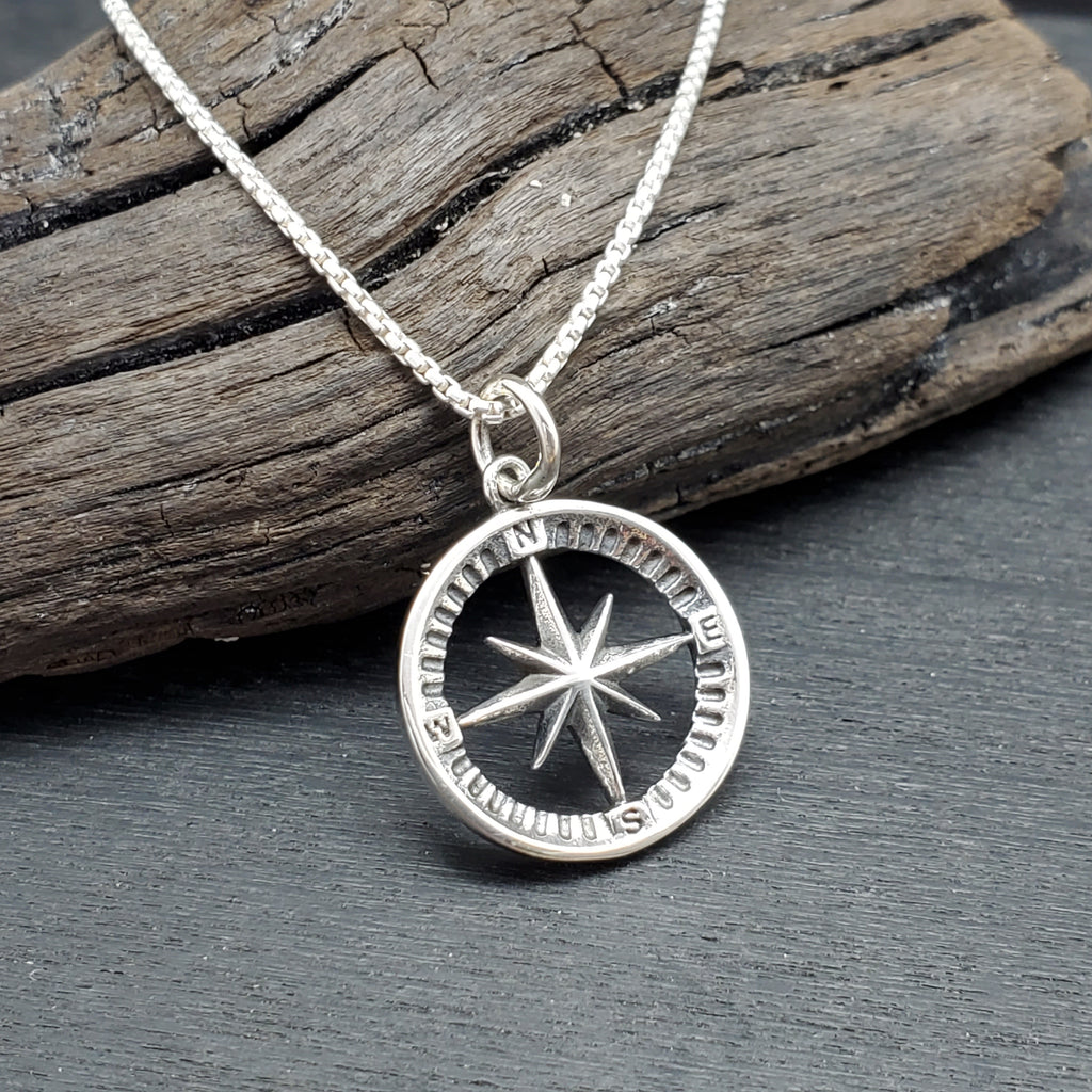 sterling silver simple compass charm necklace with north star