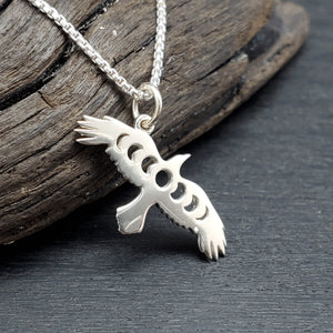 sterling silver raven moon phase necklace