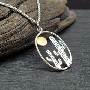 Sterling Silver Two Tone Cactus Pendant with Bronze Sun