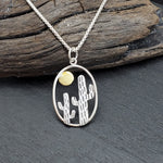 Load image into Gallery viewer, Sterling Silver Two Tone Cactus Pendant with Bronze Sun