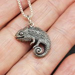 Load image into Gallery viewer, Sterling silver textured chameleon pendant