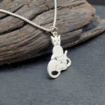 Load image into Gallery viewer, sterling silver mom and baby cat kitten necklace