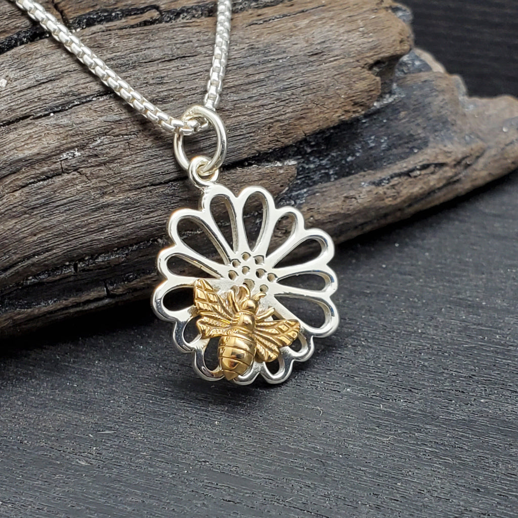 sterling silver sunflower with a bee necklace