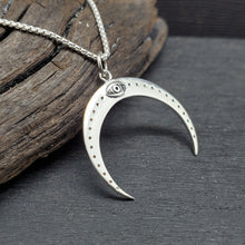 Sterling silver crescent moon with all seeing eye necklace