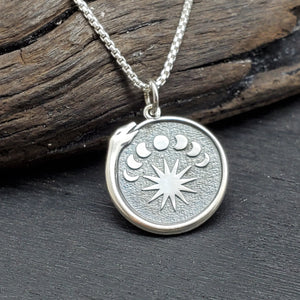 Sterling silver snake moon phase necklace