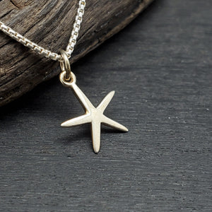sterling silver petite minimalist starfish necklace