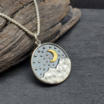 Load image into Gallery viewer, Sterling silver moon over the mountains necklace