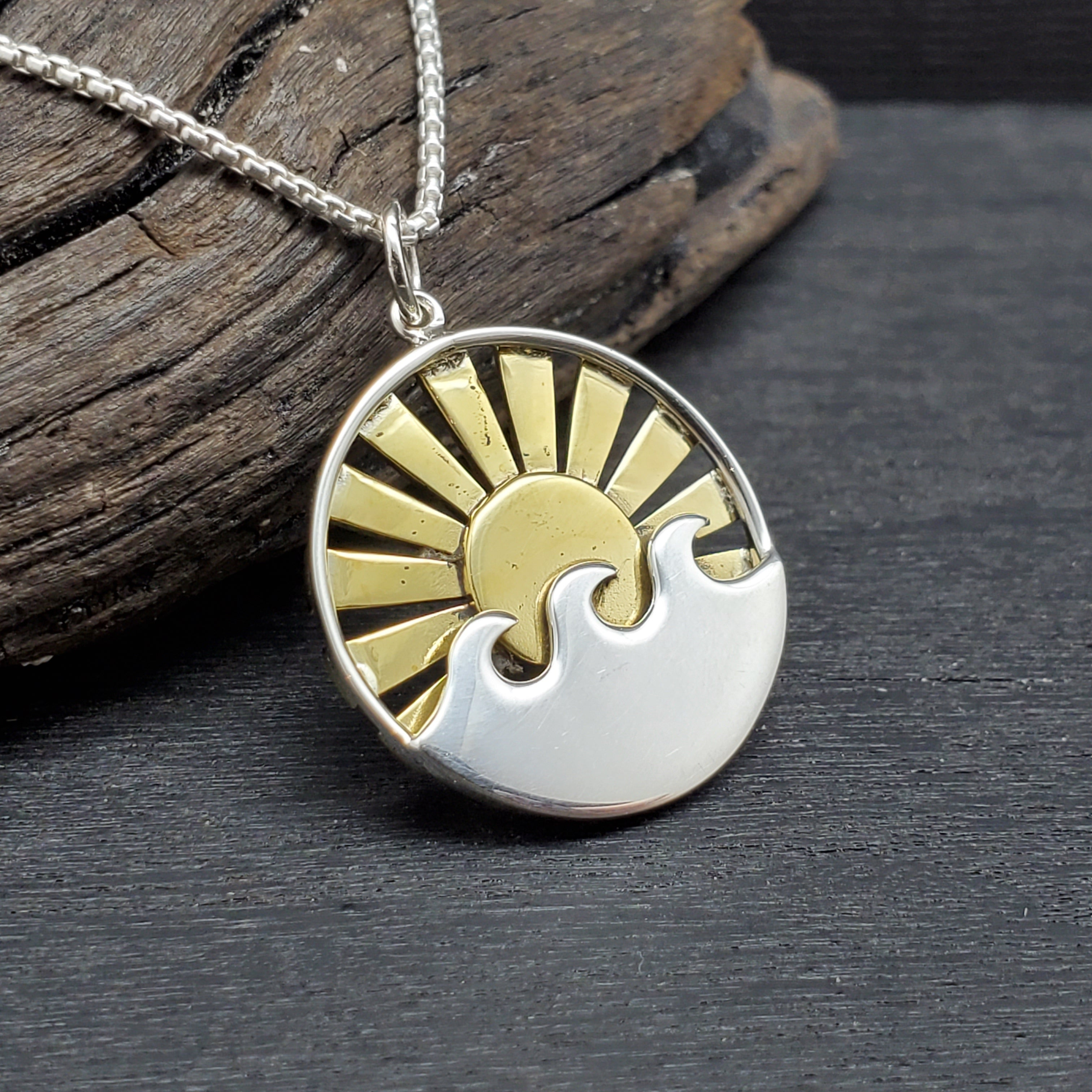 sterling silver mixed metal sun rays and waves necklace