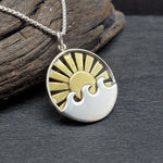 Load image into Gallery viewer, sterling silver mixed metal sun rays and waves necklace