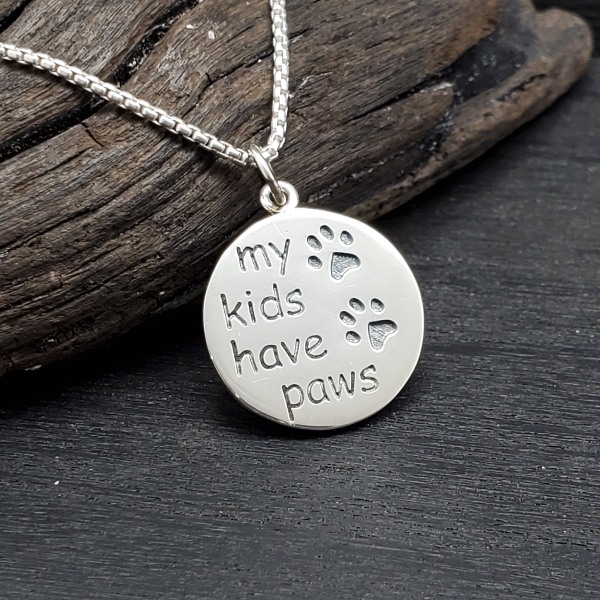 sterling silver kids have paws necklace
