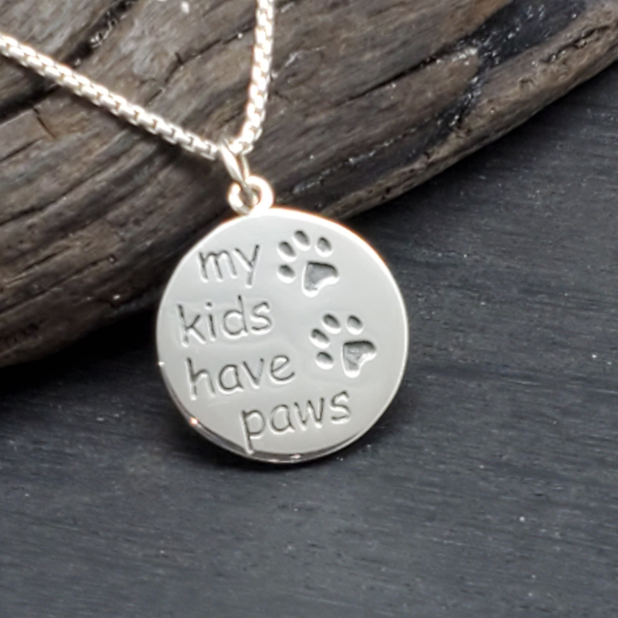 Sterling Silver My Kids Have Paws Necklace