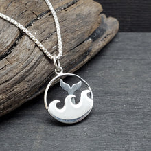 Sterling silver pendant with waves and a whale's tail